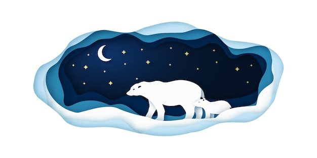 Ilustracja sztuki papieru z niedźwiedzi polarnych.