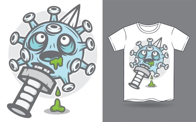 Ilustracja sztyletu i koronawirusa dla nadruku koszulki