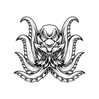 Ilustracja t shirt octopus line art