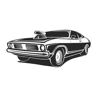 Ilustracja t-shirt plakatu sztuki mięśniowej samochodu