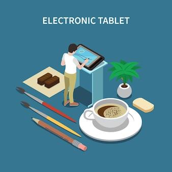 Ilustracja tabletu elektronicznego projektowania graficznego
