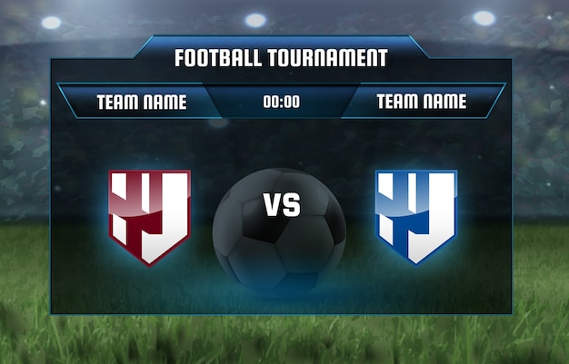Ilustracja tablica wyników piłki nożnej transmisja zespołu a vs zespół b.