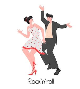 Ilustracja tancerzy ludzi rock'n'roll
