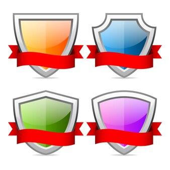 Ilustracja, tarcze ikony z czerwoną wstążką, format eps 10