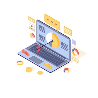 Ilustracja targetowanie i content marketing. przyciąganie odbiorców mediów, koncepcja generowania leadów. strategia marketingu przychodzącego, kampania reklamowa, promocja online
