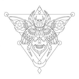 Ilustracja tatuaż czaszki chrząszcza mandali w stylu liniowym