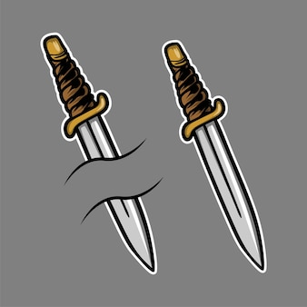 Ilustracja tatuaż nóż