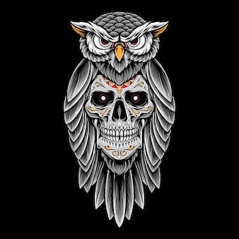 Ilustracja tatuaż sowa czaszki