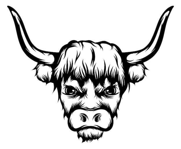 Ilustracja tatuaż wielkiego byka z długimi rogami
