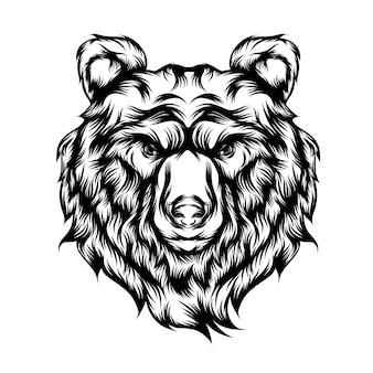 Ilustracja tatuaż wściekłego wilka z długim futrem
