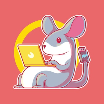 Ilustracja tech mouse. technologia, komputer, koncepcja biznesowa.