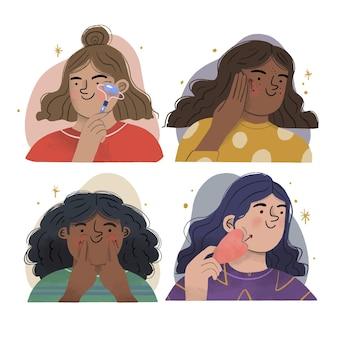 Ilustracja technika masażu twarzy ręcznie rysowane