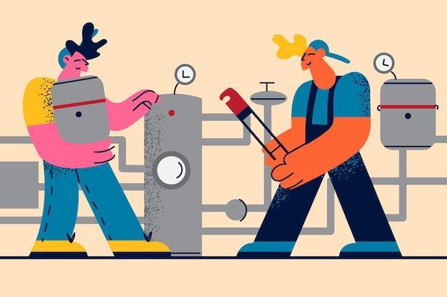 Ilustracja techników i inżynierów firmy grzewczej