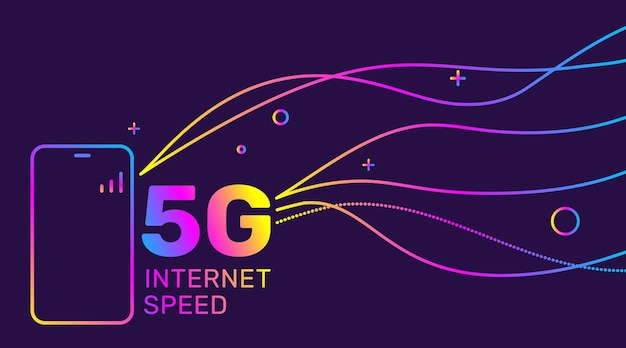 Ilustracja technologii gradientu 5g i inteligentny telefon