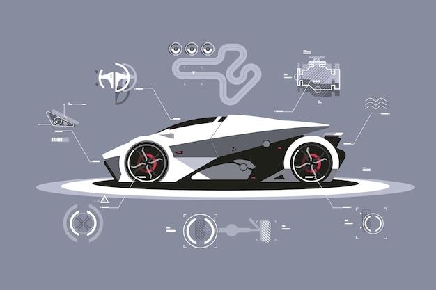 Ilustracja Technologii Nowoczesnego Samochodu. Premium Wektorów