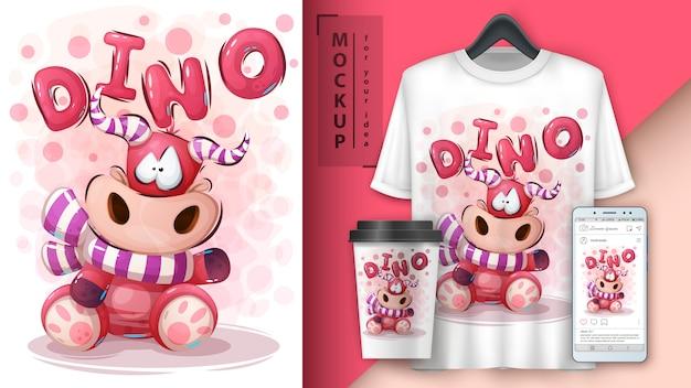 Ilustracja teddy dino i merchandising