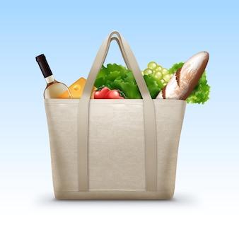 Ilustracja tekstylnej torby na zakupy wielokrotnego użytku