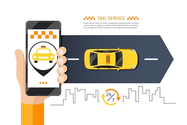 Ilustracja telefon komórkowy taksówki taksówki.
