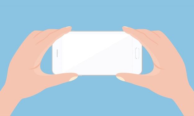 Ilustracja telefon komórkowy w ręce na białym tle w stylu płaskiej.