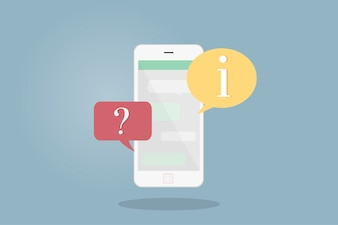 Ilustracja telefon komórkowy z mowa bąblami
