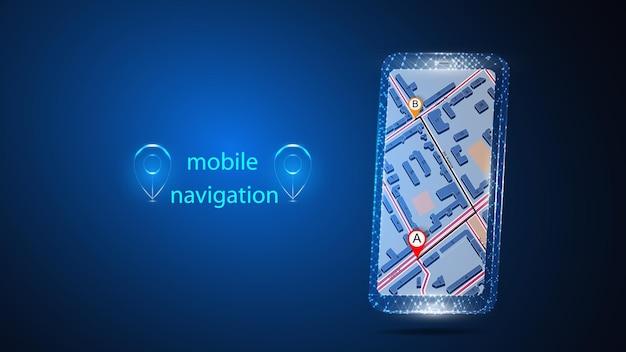 Ilustracja telefonu komórkowego z aplikacją do nawigacji mobilnej.