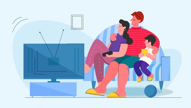 Ilustracja telewizji rodzinnej. krewni na kanapie w domu. matka, ojciec i dziecko oglądają telewizję.