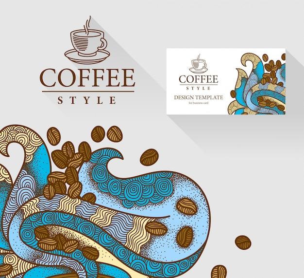 Ilustracja tematu kawy z kartą wizyty