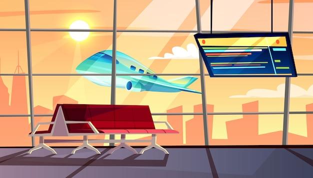 Ilustracja terminalu lotniska z hali oczekiwania z harmonogramem wylotu lub przylotu