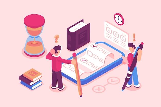 Ilustracja testów lub usług egzaminacyjnych online. chłopiec zdający test na telefonie komórkowym za pośrednictwem aplikacji internetowej