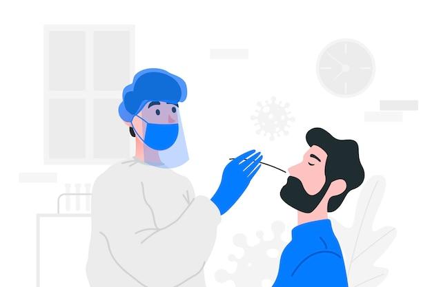 Ilustracja testu wymazu z nosa dla koronawirusa