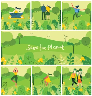 Ilustracja tła eko koncepcji zielonej energii ekologicznej i cytat zapisz planetę.