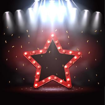 Ilustracja tła gwiazdy oświetlonej przez reflektory