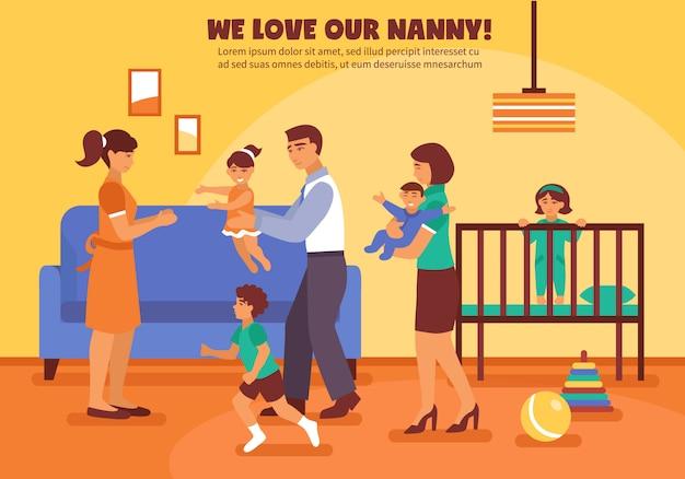 Ilustracja tła opiekunka do dziecka