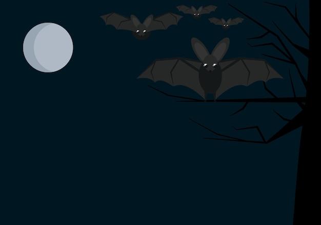 Ilustracja tła ulotki na wakacje halloween z nietoperzami i księżycem