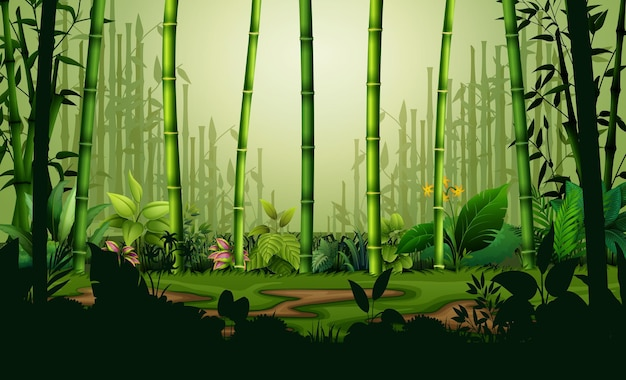 Ilustracja tle krajobrazu bambusowego lasu