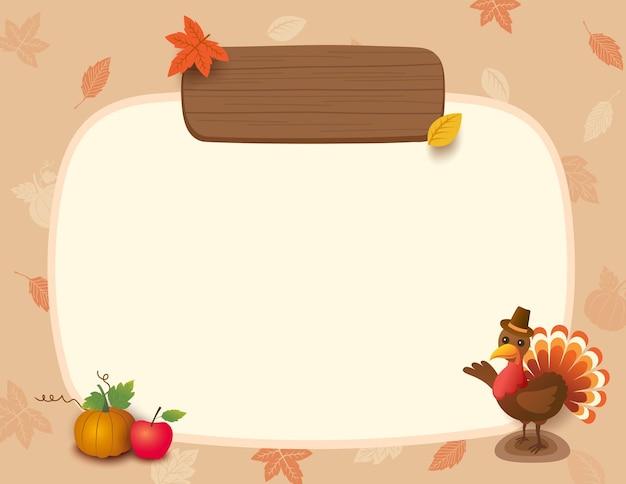 Ilustracja tło dziękczynienia z ptakiem indyka