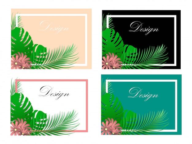 Ilustracja tło liści do wprowadzania tekstu i projektowania