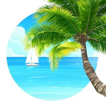 Ilustracja tło palma i statek w oceanie