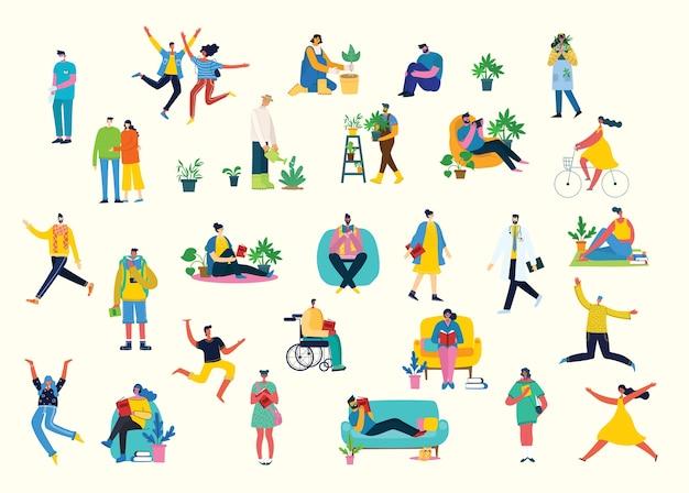 Ilustracja tło w grupie osób wykonujących różne czynności