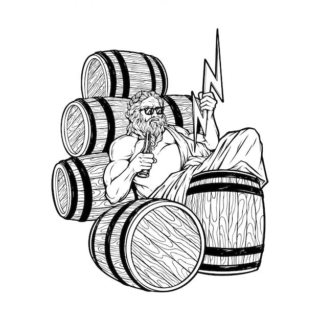 Ilustracja tłuszczu zeus pije piwo