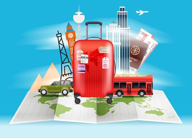 Ilustracja torba podróżna. koncepcja wakacji z czerwoną torbą