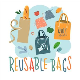 Ilustracja toreb wielokrotnego użytku dla ekologicznego stylu życia bez odpadów