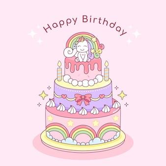 Ilustracja Tort Urodzinowy Z Nierożcem Premium Wektorów