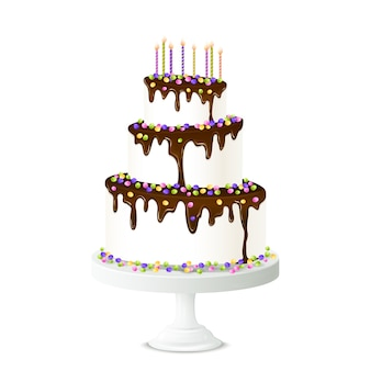 Ilustracja tort urodzinowy