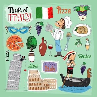 Ilustracja tour of italy z zabytkami