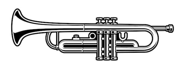 Ilustracja trąbki. projektowanie logo jazzu na białym tle.