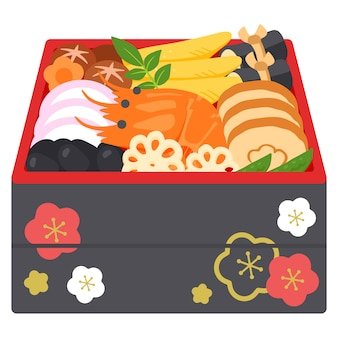 """Ilustracja tradycyjnego japońskiego jedzenia """"osechi"""""""