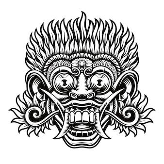 Ilustracja tradycyjnej indonezyjskiej maski barong. ta ilustracja może być używana jako nadruk na koszulce, a także do innych zastosowań.