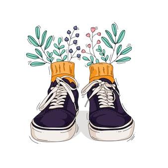 Ilustracja trampki z kwiatami i liśćmi