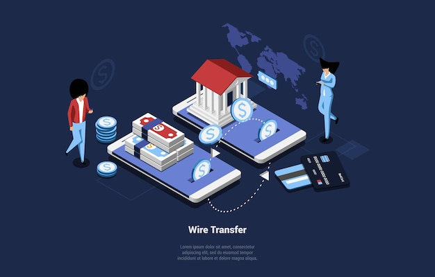 Ilustracja transferu bezprzewodowego w stylu cartoon 3d